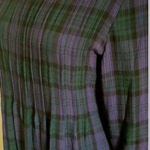 Vintage 90s plaid maxi long pleated dress